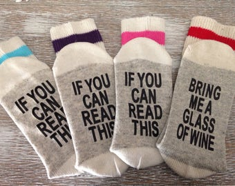 wine Socks, coffee lovers, tea lovers, if you can read this, gifts for her, mom gift, teacher gift, womens socks, shop funny socks