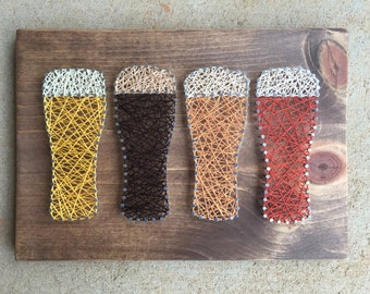 Beer string art, Beer fiber art, Bar art, beer art, craft beer, bar decor, man cave decor, beer gift, brew, beer love, Valentine's Day