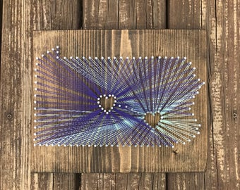 Two city string art, state and city string art, long distance, custom city and state string art, connecting cities string art, galley wall