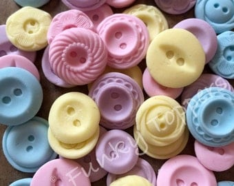 PICK & MIX - 12 Edible Vintage Buttons Cake Cupcake Decorating Birthday Topper