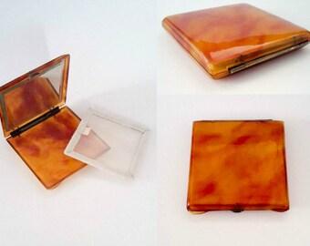 Vinatge Bakelite Tortoise Shell Compact Mirror Pocket - Purse Compact Mirror