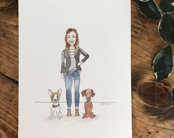 Custom Illustration (made to order) with ink + watercolor. [GROUP OF 3]