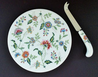 """Vintage Porcelain Cheese Plate (Cheese Tray or Cheese Board) and Knife, """"Buckingham"""" Pattern, Andrea by Sadek"""