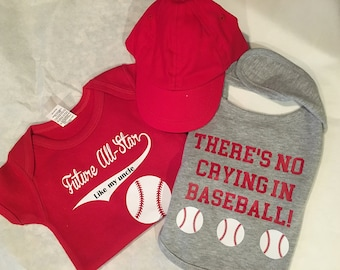 Baseball Fan Bodysuit, Bib, and Hat