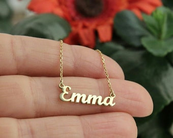 Personalized Name Necklace -Gold Name Necklace- Custom Name Plate Necklace - Personalized Bridesmaids Necklace-Bridesmaid Gift