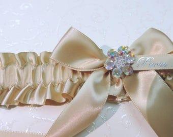 Champagne prom garter,  Tan prom garter,  Garter for prom 2017