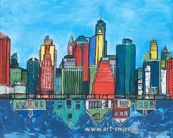 large painting of New York versus little old dutch houses, house design