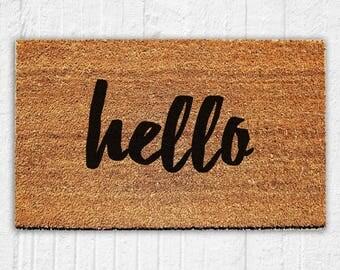 Hello Script Doormat | Welcome Mat | Door Mat | Outdoor Rug |  Housewarming Gift | Home Decor | 18x30