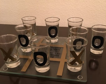 Drink Tac Toe (Black and Gold)- Adult Tic Tac Toe Shot Glass Drinking Game