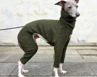 Italian Greyhound Clothing, Fleece Jammies, Jumpsuit, Romper, Onesie [Dark Green]