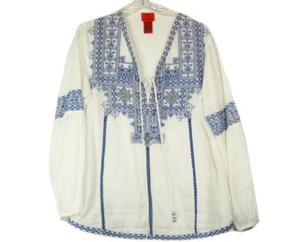 Embroidered Blouse Blue White Sheer Tunic Top, 100% Cotton, Size Medium, V Christina, 1990s