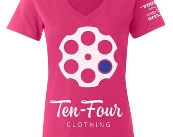 Women's Ten Four V-Neck (Pink)