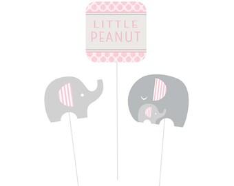 Little Peanut Pink Elephant Centerpiece Sticks [3ct] Baby Shower DIY Decorations Party Decor Supplies Props