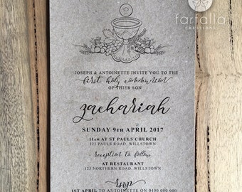 First Holy Communion Invitation // Rustic // 120 x 180mm