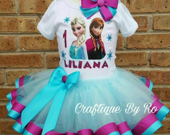 Snow Princess Tutu Set - Frozen Tutu Set - Frozen Ribbon Tutu - Birthday Outfit - Frozen Birthday Tutu - Frozen Outfit