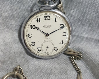 Monvis Pocket watch  15 Rubis Swiss made Incabloc Antimagnetic  watch #5013 vintage Working