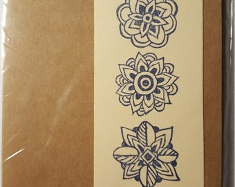Three Flowers stamped note cards. Pack of five. 4X6