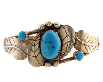 Vintage Old Pawn Navajo Sleeping Beauty Turquoise Sterling Silver Cuff