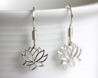 Petite Lotus Earrings, Sterling Silver Jewelry