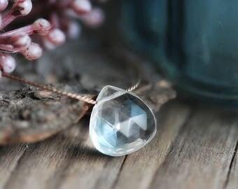 Clear Crystal Necklace, Rock Crystal, Silk Cord, Sterling Silver, Gemstone Pendant, Silk Thread