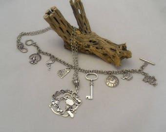 Alice In Wonderland Charm Bracelet and Necklace Set (1291)