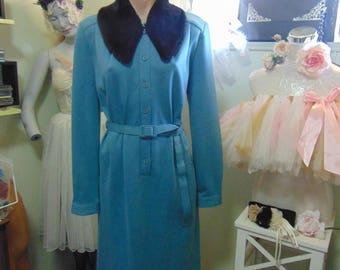1950s Teal Blue Dress with Faux Fur Collar Genuine Vintage Piece Elegance sz 10