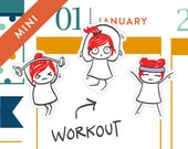 Workout planner stickers, lift weights, dumbell, jump rope, Erin Condren, running stickers, goals, healthy, 29 stickers, MINI