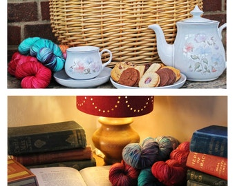 Set of 2 large cards featuring skeins of hand dyed yarn and vintage books and yarn skeins with afternoon tea. Blank for your own greeting