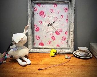 Shabby Chic Clock - Vintage Doily