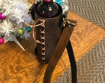 Leather Wine Tote, Wine Gift, Leather Gift, Wine Carrier, Wine Tote Bag, Wine Tote Leather, Wine Tote Wedding