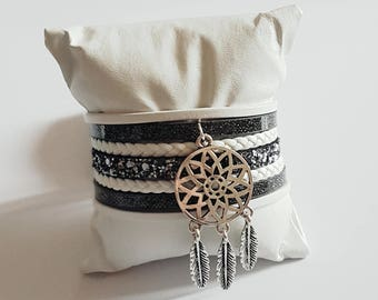 Gray and white grab leather Cuff Bracelet dreams