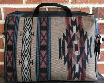 Vintage Southwestern Aztec Bag, Woven Fabric handbag, Boho handbag, laptop bag, tribal print bag, trubal briefcase