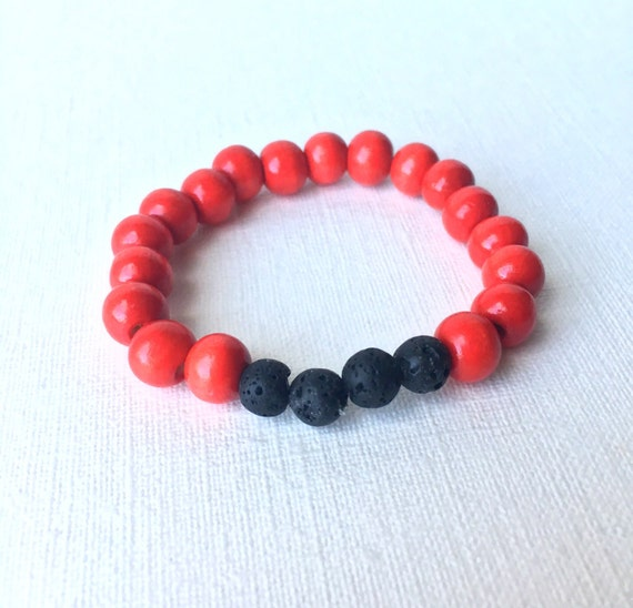 Child Essential Oil Diffuser Bracelet - gift for boy - gift for son - black lava bead and red wood beaded stretch bracelet