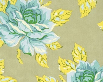 Heather Bailey Nicey Jane Hello Roses in Dove Fabric - Spring Fabric by the Yard - Floral Fabric - Yellow Blue Green - Shabby Chic Fabric
