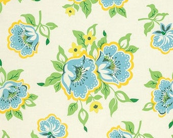 Heather Bailey Nicey Jane Church Flowers in Blue Fabric - Summer Fabric by the Yard - Floral Fabric - Yellow Blue Green - Shabby Chic Fabric