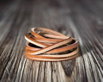Light brown chain leather bracelet - Men's bracelet - Women's bracelet - brown bracelet - braid bracelet - Men's gift - Women's gift