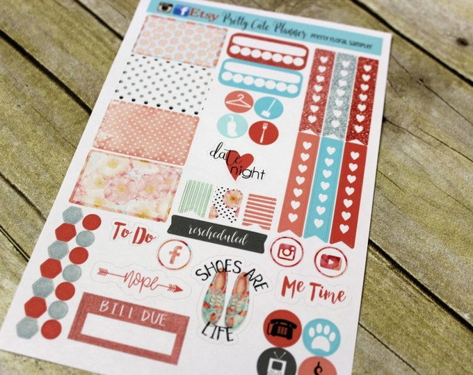 Planner Stickers Sampler - Pretty Floral Planner Stickers - Happy Planner - Day Designer - Functional stickers - Fits Erin Condren - Sampler