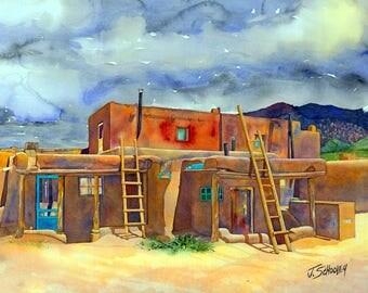 Taos Pueblo Watercolor Giclee by John Schooley