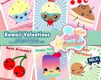 Printable Valentines: Kawaii Valentines Cards
