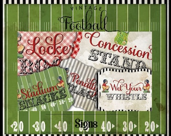 Vintage Football-Signs-Buffet Table Signs-Party Signs-Party Printables-Superbowl Parties-Super Bowl -Sports-Referee-DIY-Instant Download