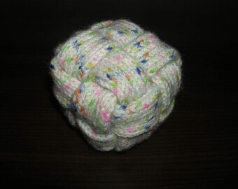 Baby ball, play ball, rattle ball, knitted, braided, with bells, D = 8 cm