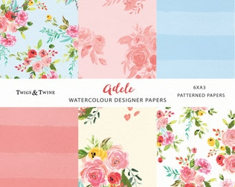 Adele Digital Paper- Flower Paper. Vintage style floral pattern. Perfect for cards, wedding stationery and more.