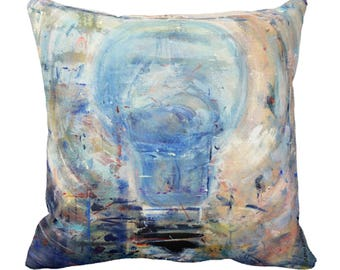 "Throw cushion - ""PaintBulb"" Light Bulb - Original oil painting - Numbered Limited Edition pillow - 15"" x 15"""