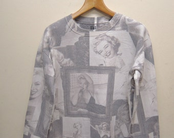 Vintage Marilyn Monroe Full Print Sweatshirt Classic Hollywood Diva Pull Over Sweater Size L