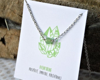 Aventurine necklace stainless steel