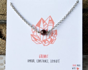 Garnet necklace stainless steel