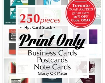 PRINT ONLY // Business Cards, PostCards, Note Cards //250 pcs 14pt C2S Card, Small business solution, FREE shipping