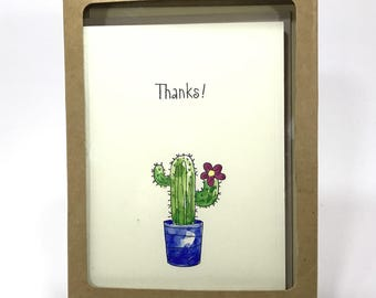Hand made thank you card, Cactus, Water painted, Water Colored, Thank you card set