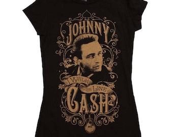 Johnny Cash Walk the Line Junior's T-Shirt