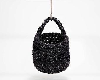 small storage basket, eco crochet hanging basket, monochrome decor, nursery storage, toy basket, toiletry organiser, pegboard organiser
